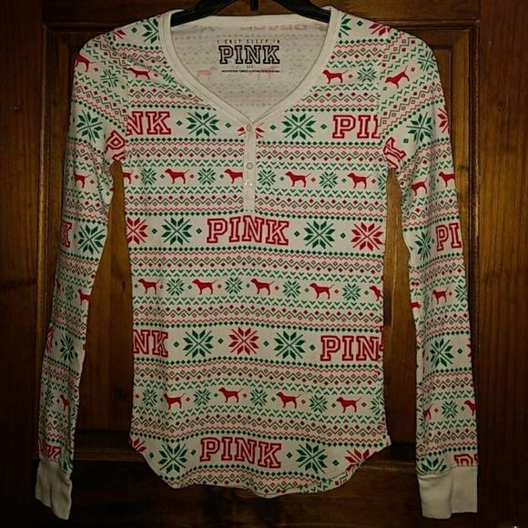 6b44f1b648f6e Victoria's Secret PINK thermal henley sleep shirt